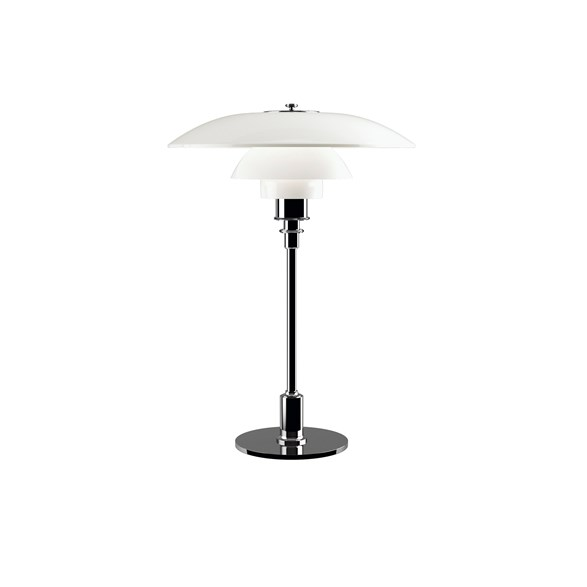 PH 3/2 bordslampa, krom/opal 47,2cm