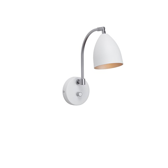 Deluxe vägglampa LED, mattvit/brilliant silver